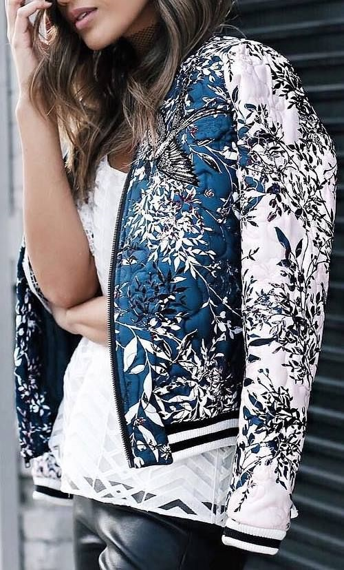 spring 2018 style essentials, print bomber jacket, blue print bomber jacket and white lace top