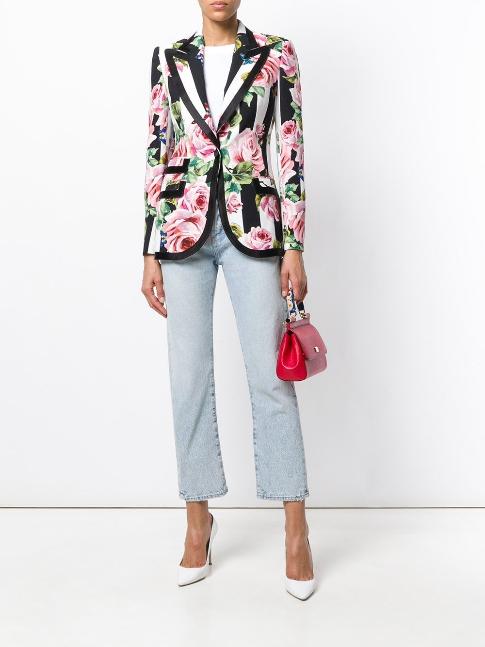 spring style essentials 2018, bold print blazer, dolce & gabbana striped rose print blazer
