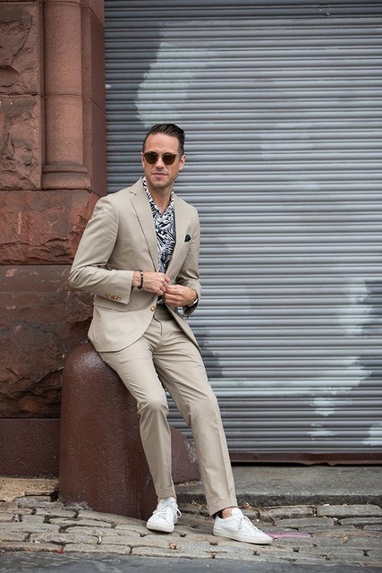 Men's Spring Suiting + Print Button Downs, khaki suit, black and white print shirt, white sneakers