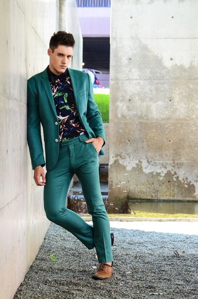 Men's Spring Suiting + Print Button Down, green suit with black print button down shirt