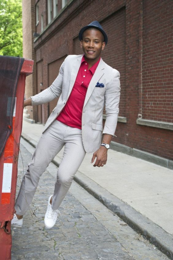 Men's Spring Suiting + Print Button Downs, khaki suit + raspberry polo shirt and hat