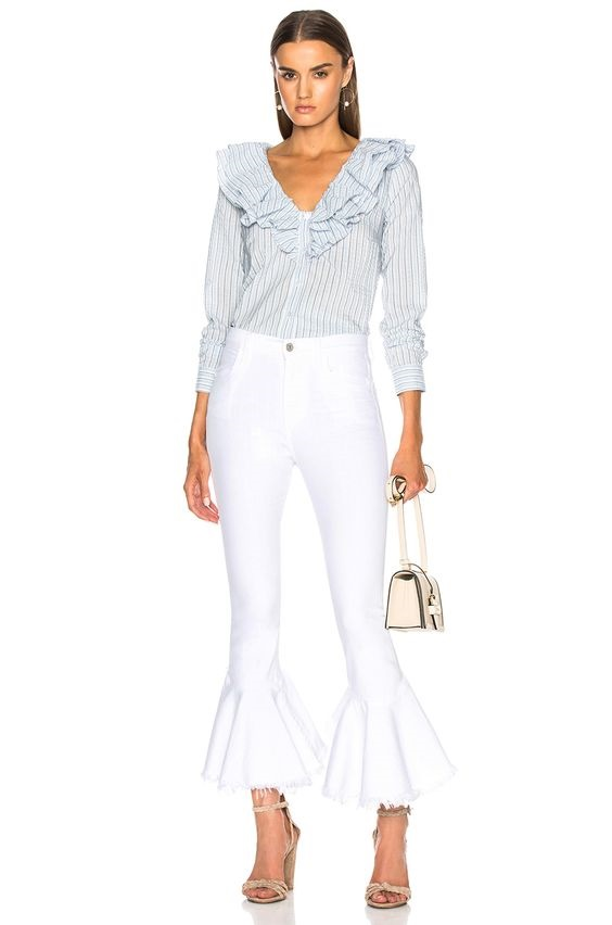 fresh styles for white jeans, citizens of humanity drew white flounce hem jeans with striped blouse and high heels