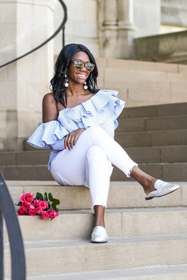 spring white denim trends, white cropped jeans with one shoulder blue striped top and silver mules, Alicia Tenise