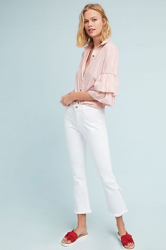 spring white denim trends, white tulip hem jeans by citizens of humanity
