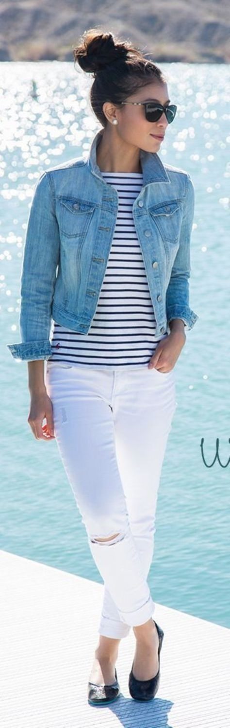 5 Essentials to Pack When Traveling, light layering jacket, denim jacket, striped shirt and white jeans