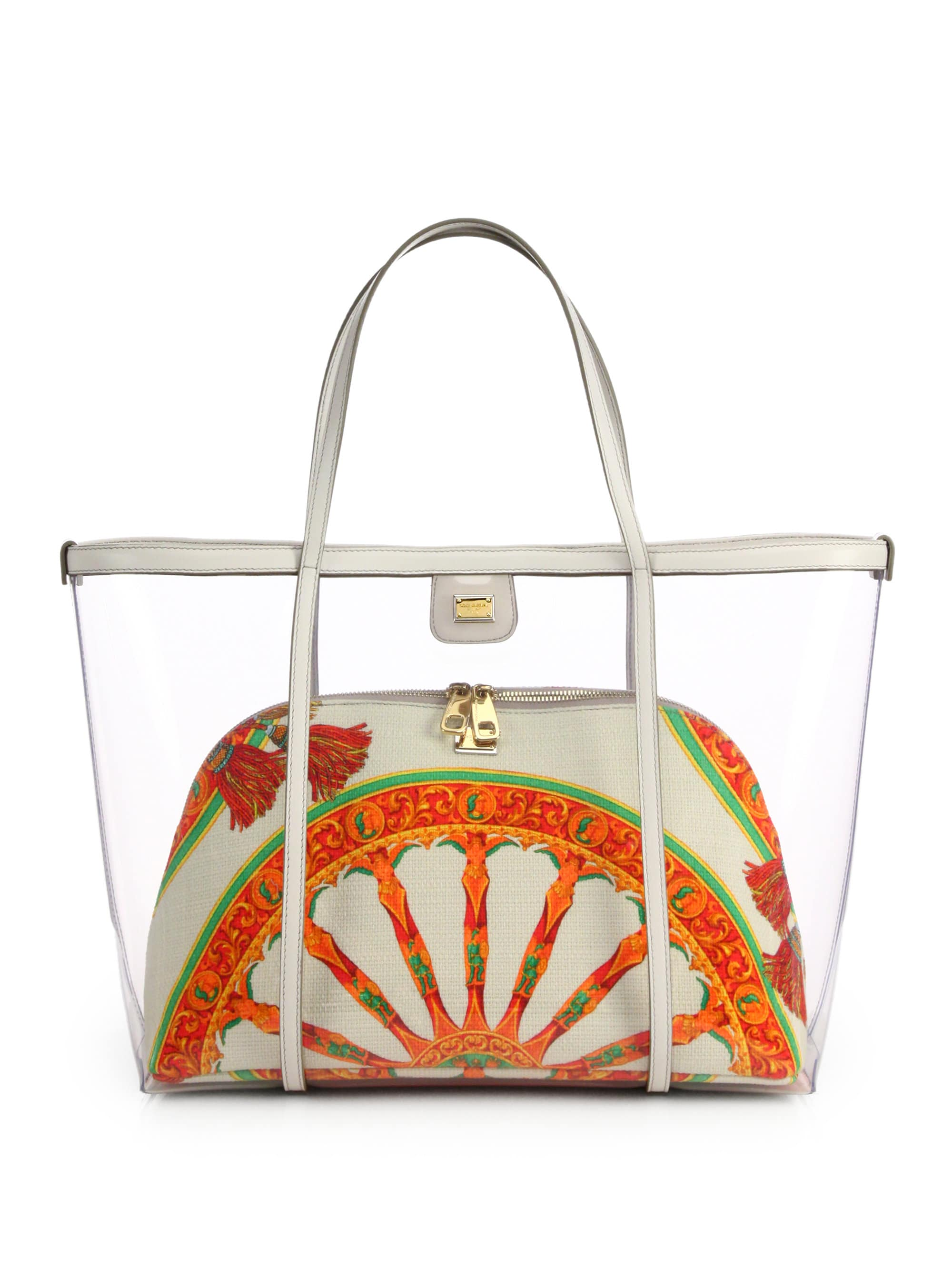 5 Essentials to Pack When Traveling, tote bag and clutch, Dole Gabbana escape transparent tote and clutch