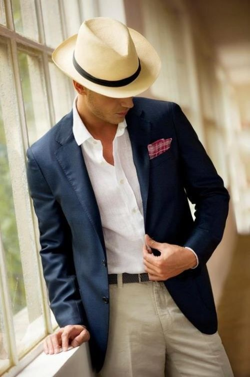 How to Stay Cool and Look Chic this Summer for Men, men's fedora with blue blazer, white button down summer outfit