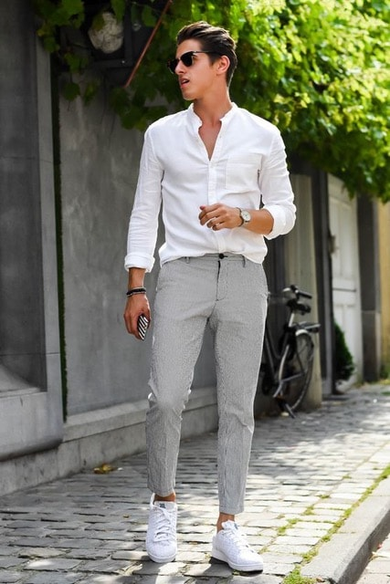 How to Stay Cool and Look Chic this Summer for Men, men's sunglasses with white button down shirt and gray pants, white sneakers
