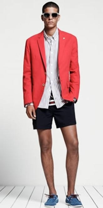 Red, White, and Beautiful Fourth of July Outfit, pool party outfit, Tommy Hilfiger red blazer, black shorts, striped button down shirt
