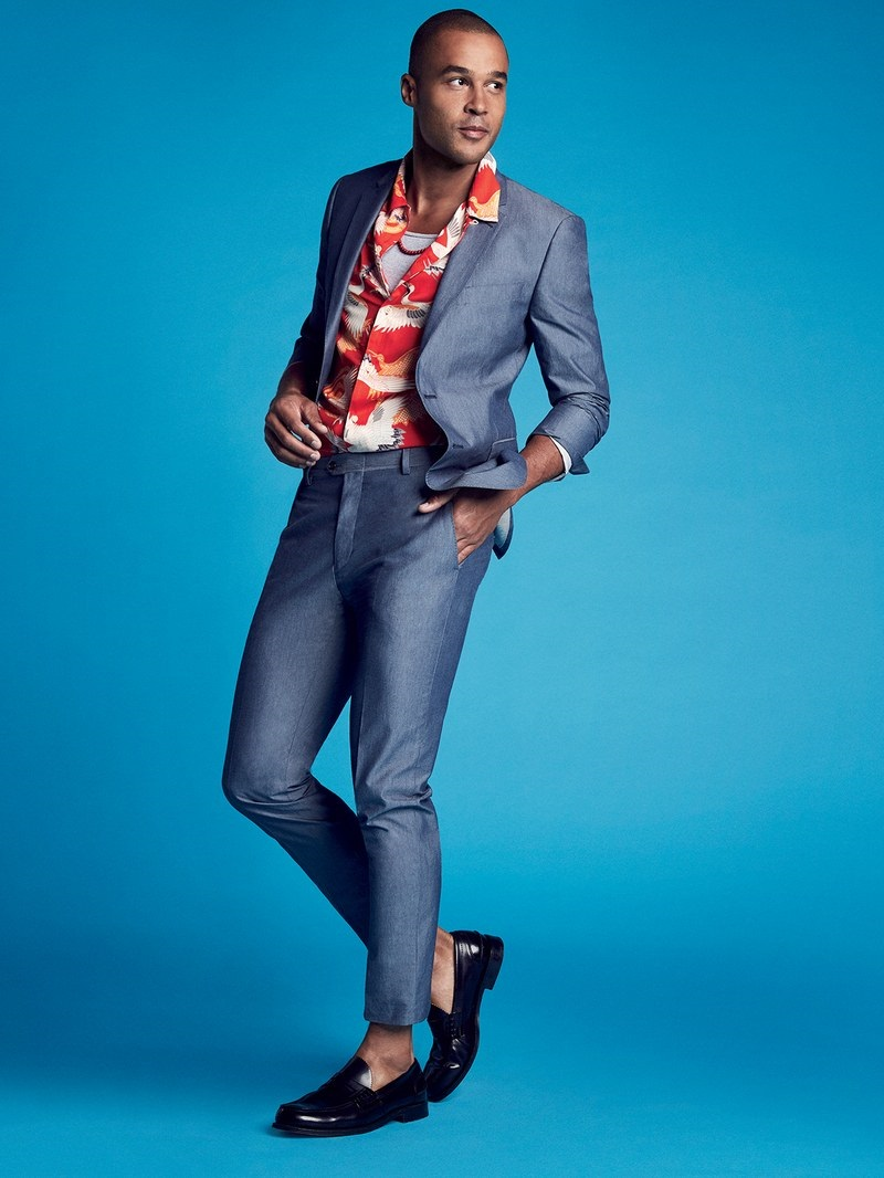 Summer Shirt Styles, Camp Shirt and Button-Ups, GQ men's floral print camp shirt with chambray suit