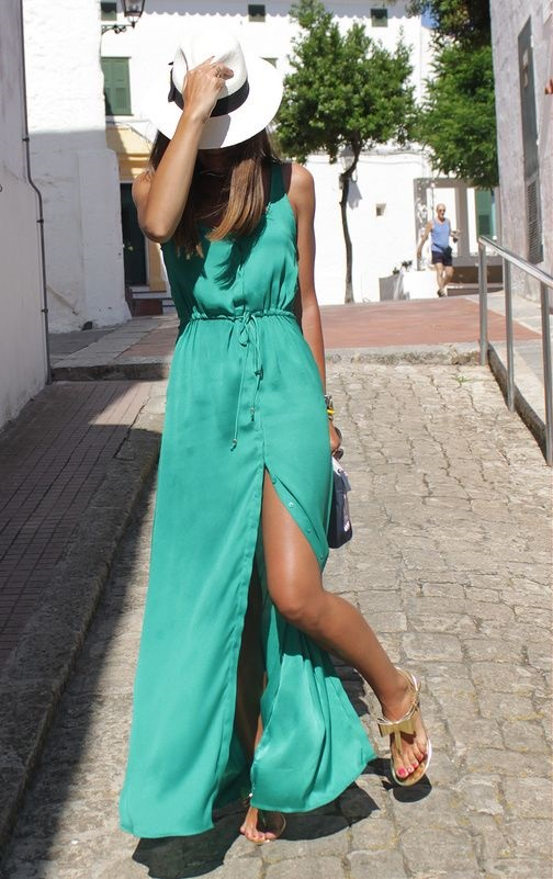The Easiest Way to Take Your Look from Day to Night, day to night maxi dress, green maxi dress, sunhat, sunglasses, gold sandals