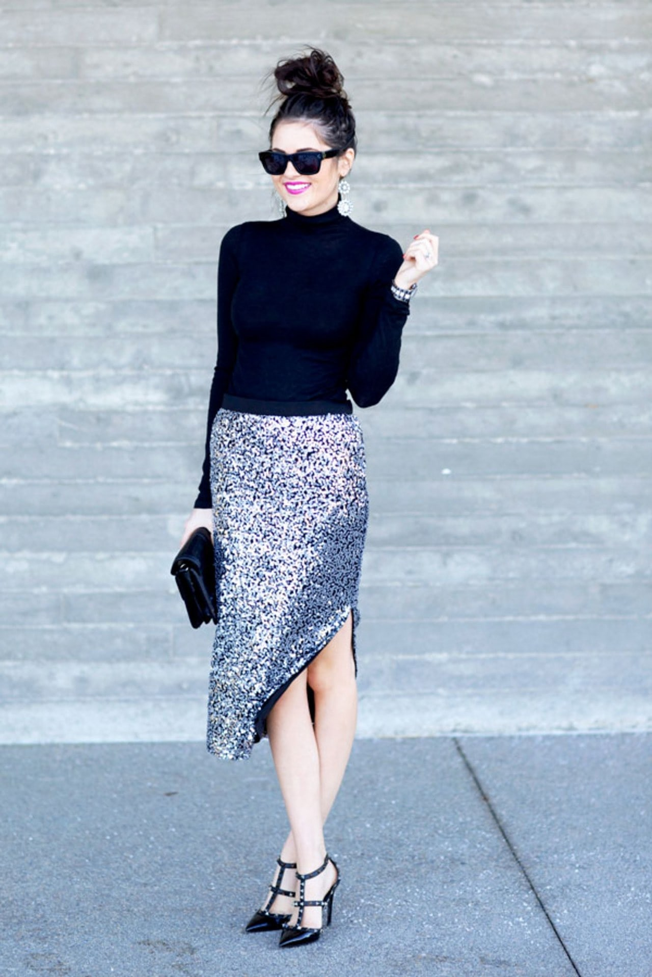 The Easiest Way to Take Your Look from Day to Night, metallics and sequins, silver sequin skirt, black high heels, black top, Pink Peonies