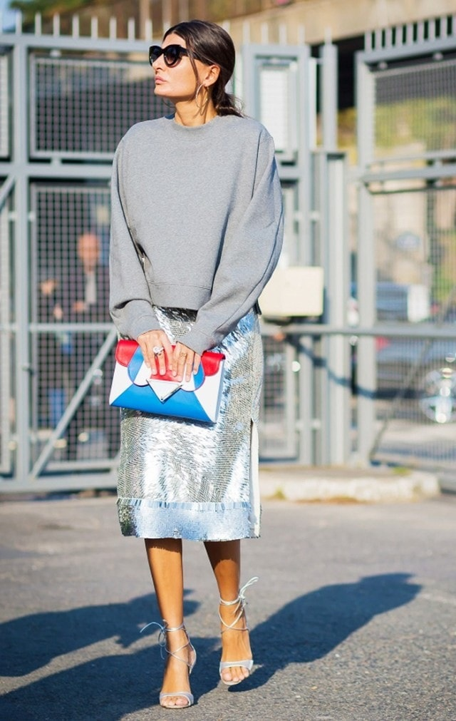 The Easiest Way to Take Your Look from Day to Night, metallics and sequins, sweatshirt, Altuzarra sequin skirt, Sara Battaglia color clutch, Gianvito Rossi shoes