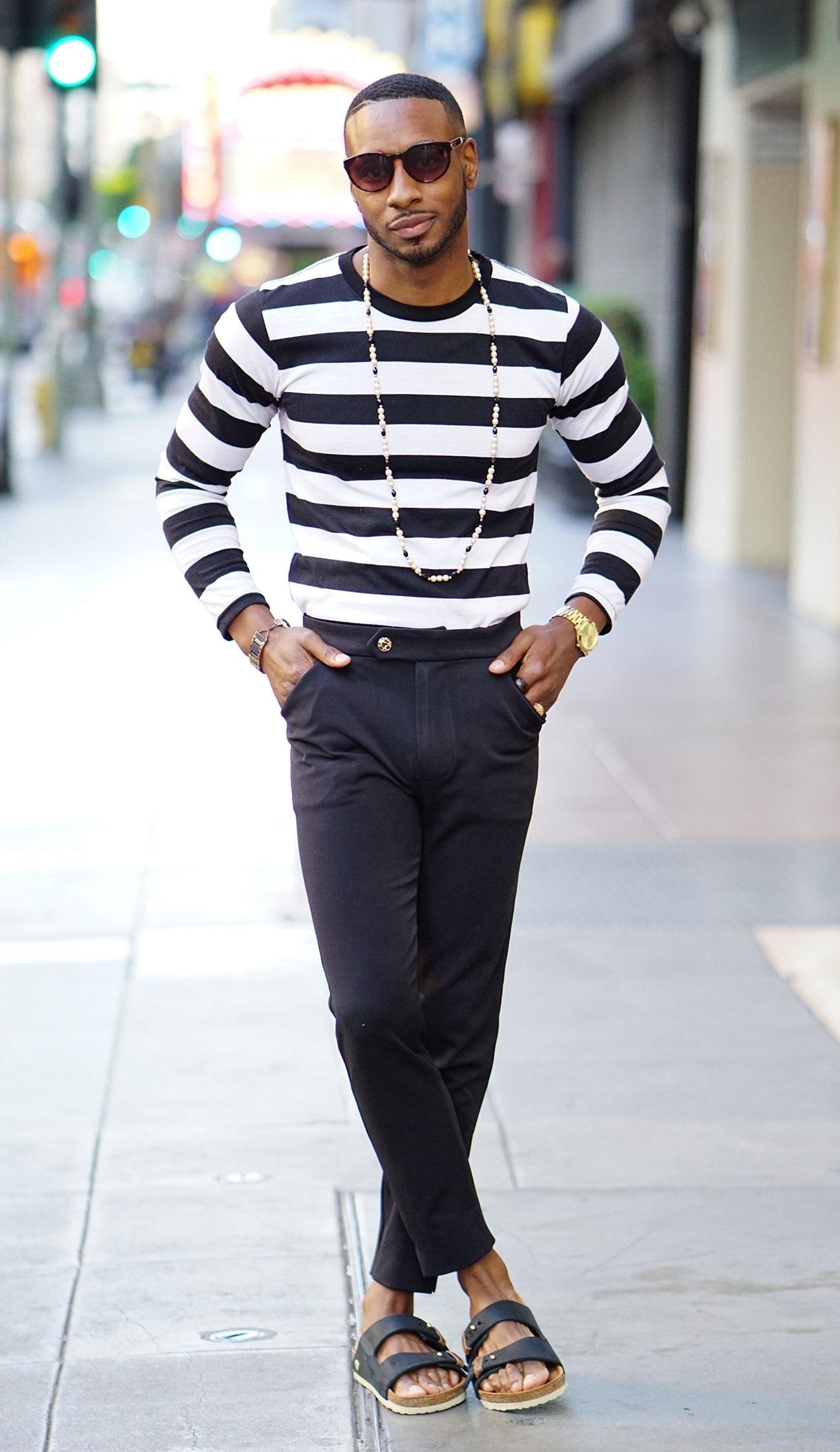 7 Things You Should Never Wear on a Date, men's birkenstocks, striped sweater, dark pants, birkenstocks
