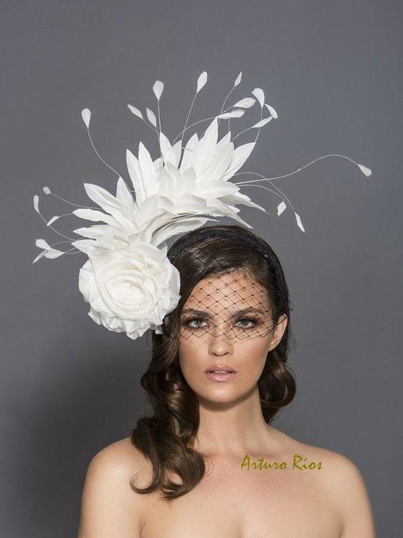 Dîner en Blanc Decor & More, Dîner en Blanc white floral and feather fascinator