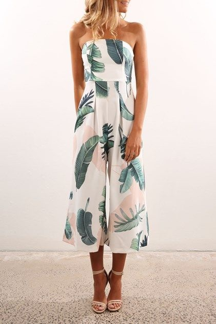 Easy & Chic Labor Day Looks, jumpsuit, polynesian banana leaf print white floral jumpsuit
