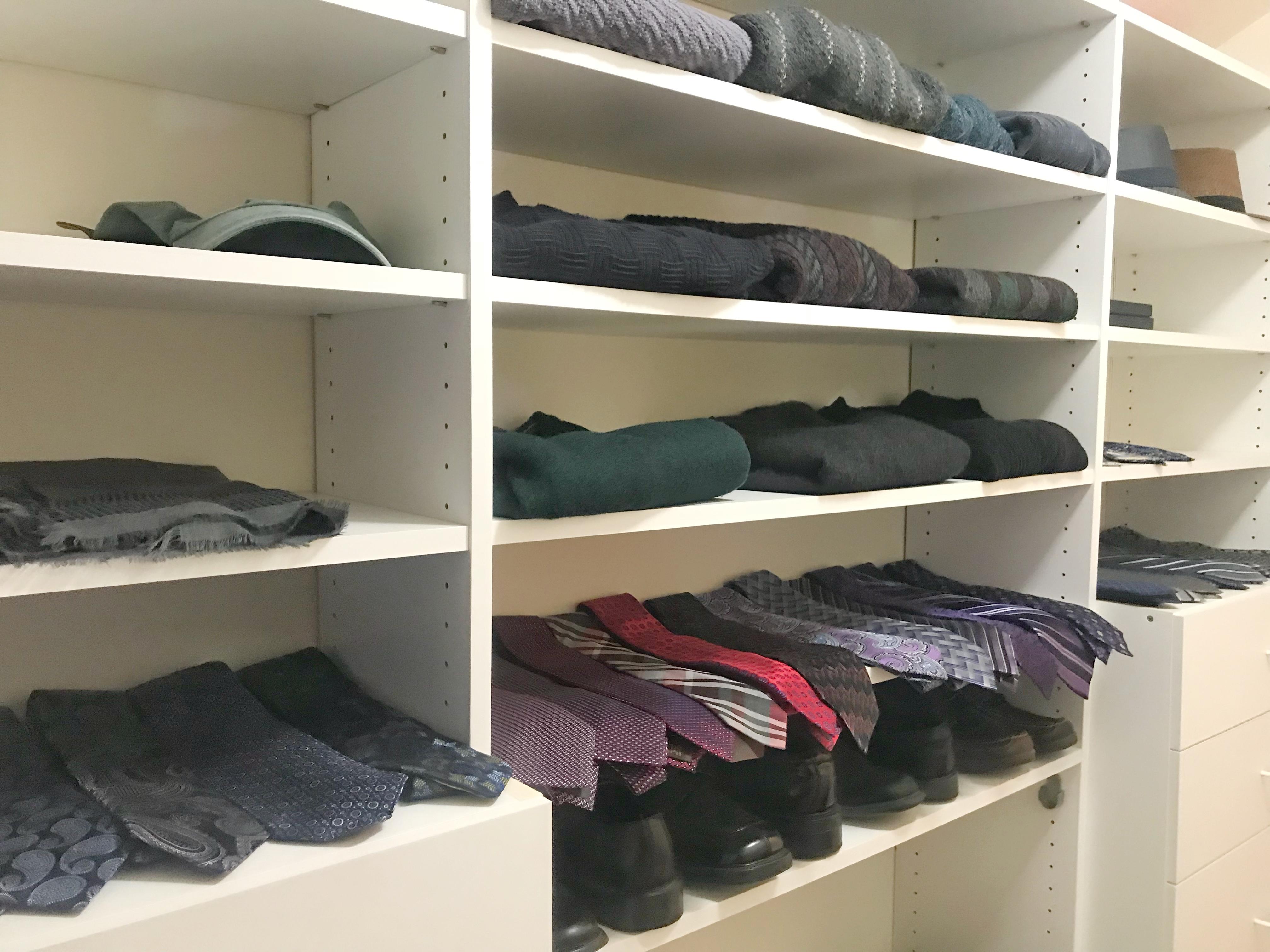 Men's closet makeover, men's closet design, men's closet edit, men's shelves for sweaters, ties, scarves, and shoes