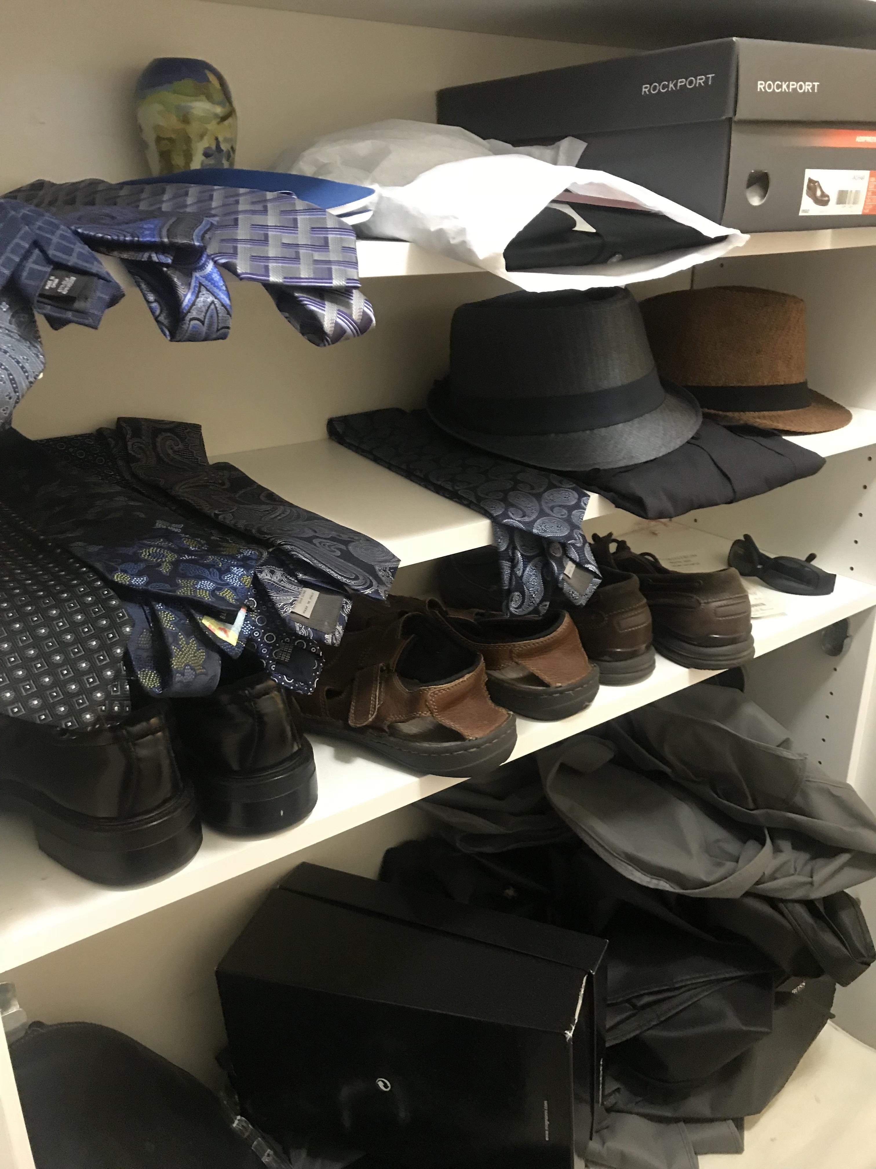 Men's Closet Makeover...closet before
