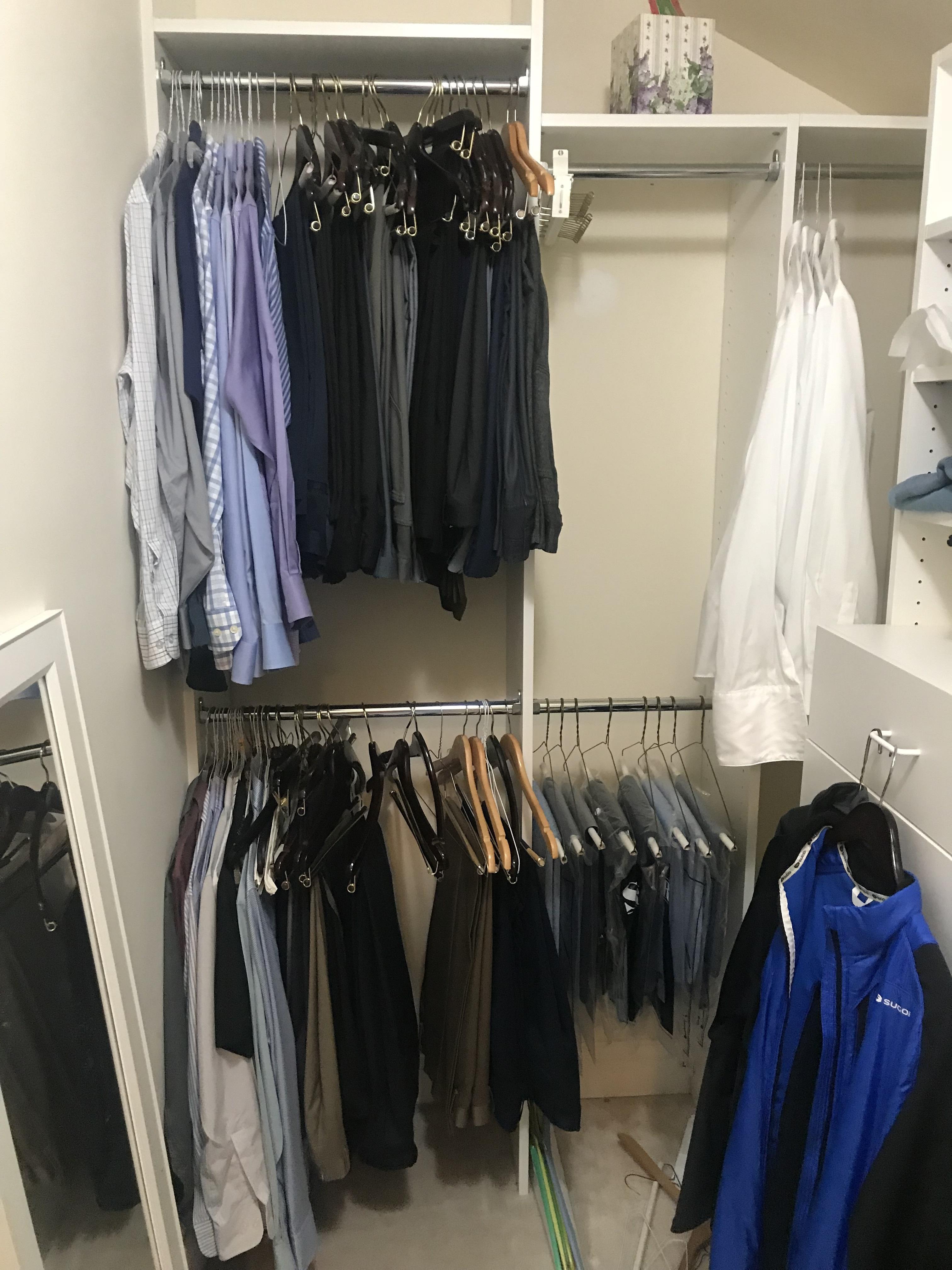 Men's Closet Makeover...male client work wardrobe closet before