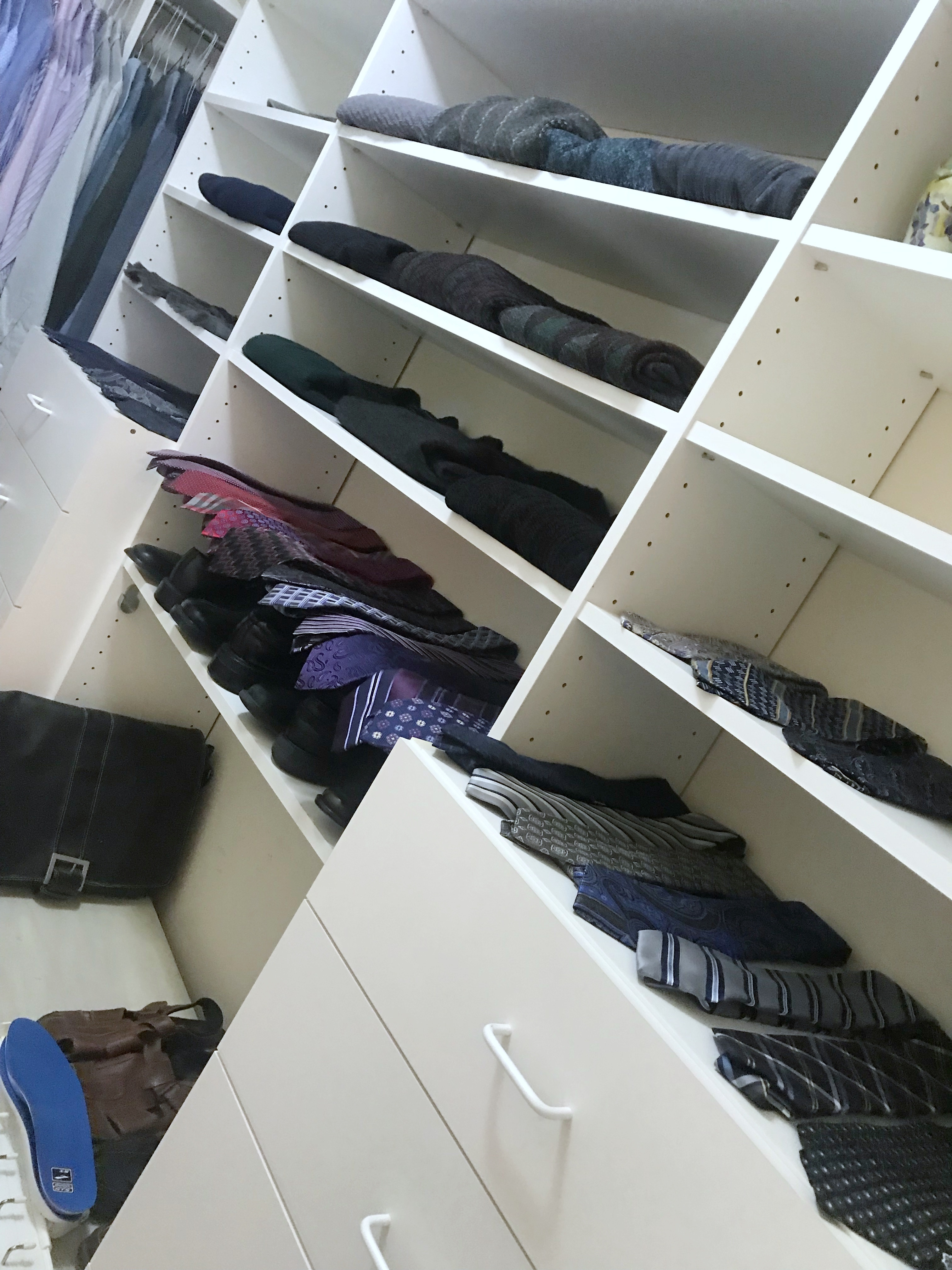 Men's professional closet makeover, closet edit, tie shelves, tie organization, tie closet