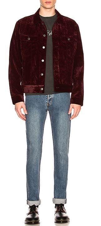 Men's Fall Fashion Staples 2018, velvet trucker jacket, Stussy maroon velvet trucker jacket