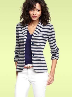 White Denim After Labor Day...white jeans, blue striped blazer, blue tee
