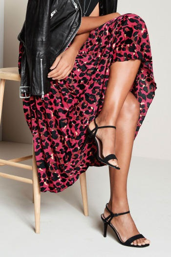Fall 2018 Fashion Staples, red leopard midi skirt with black leather jacket
