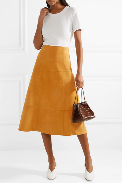 Fall 2018 fashion staples, rich textures, Elizabeth and James suede skirt
