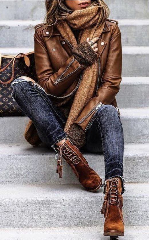 Fall 2018 Fashion Staples, rich textures, suede boots, leather jacket