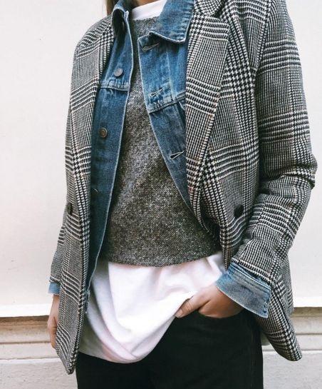 Fall Layering, plaid blzer, jean jacket, gray sweater, white shirt