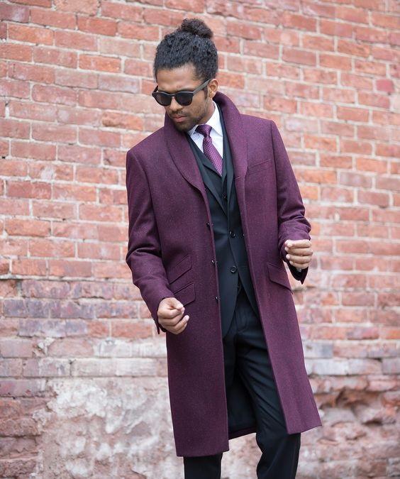 5 Stylish Coats that Completely Change Your Look Men, men's bold color coats, men's burgundy overcoat
