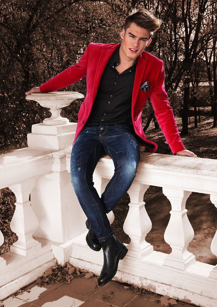 What to Pack for Holiday Travel, men's red blazer, jeans, and button up shirt with boots