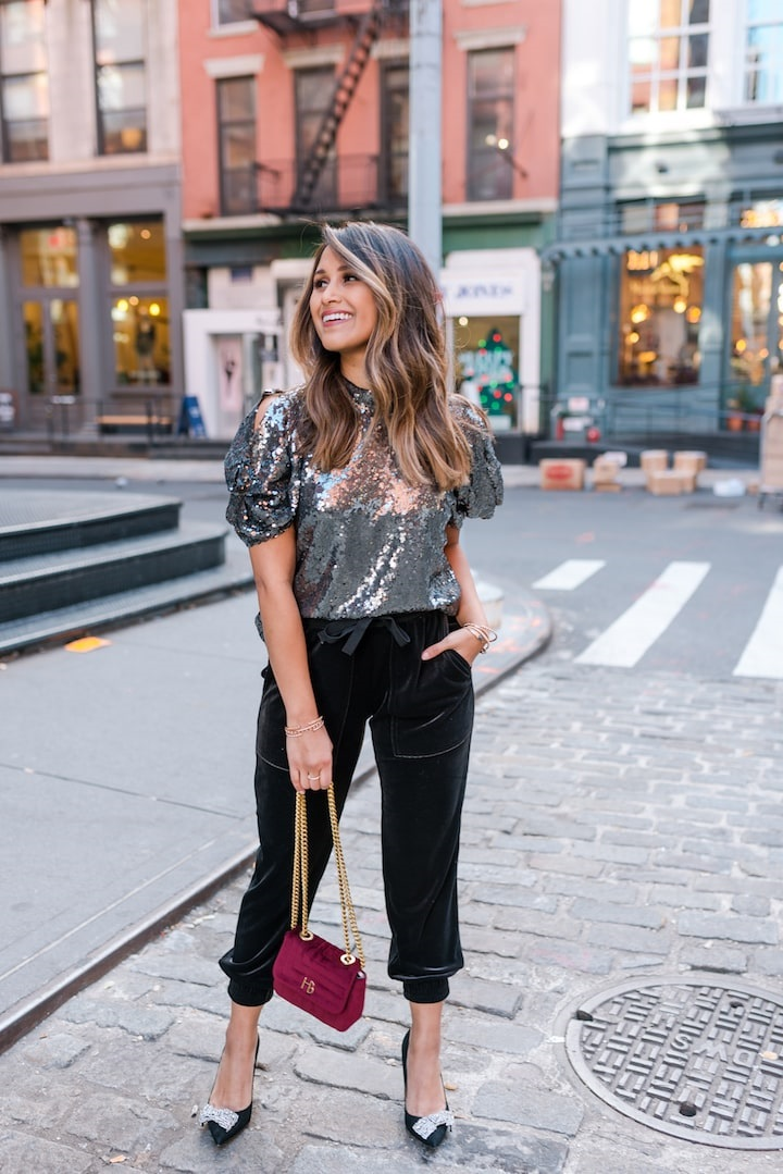 equin top paired with these velvet jogger pants
