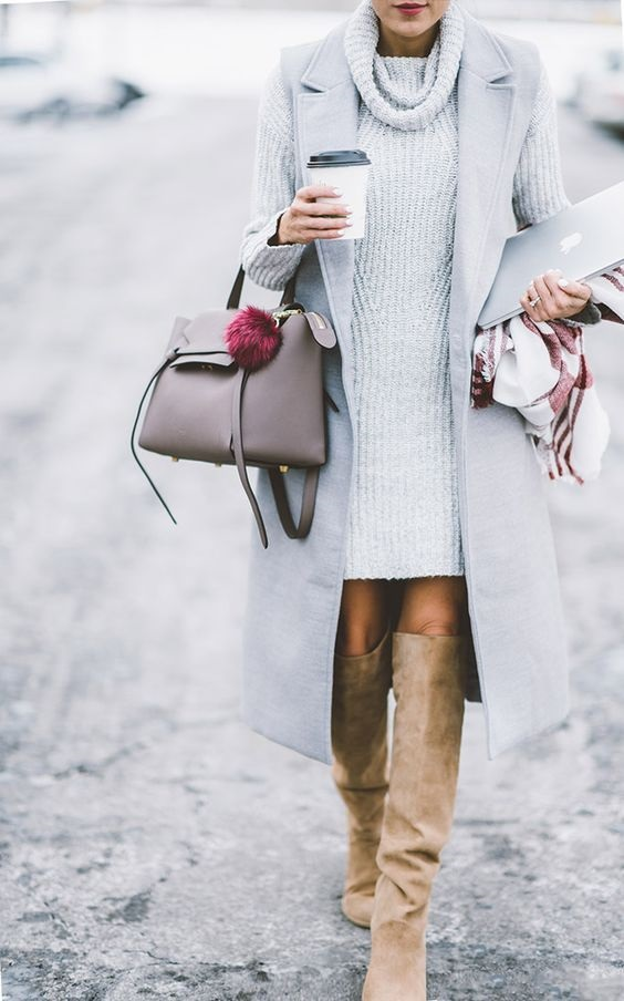 What to Wear on Thanksgiving, sweater dress, vest, over the knee boots, gray sweater dress, gray vest, taupe suede boots