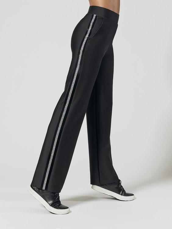Women's Stylish Workout Attire, Ultracor Swarovski Crystal Tuxedo Workout Pants