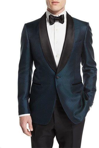Men's holiday style, men's black tie tuxedooutfit, TOM FORD Buckley-Base Mesh-Print Tuxedo Jacket, Green Black