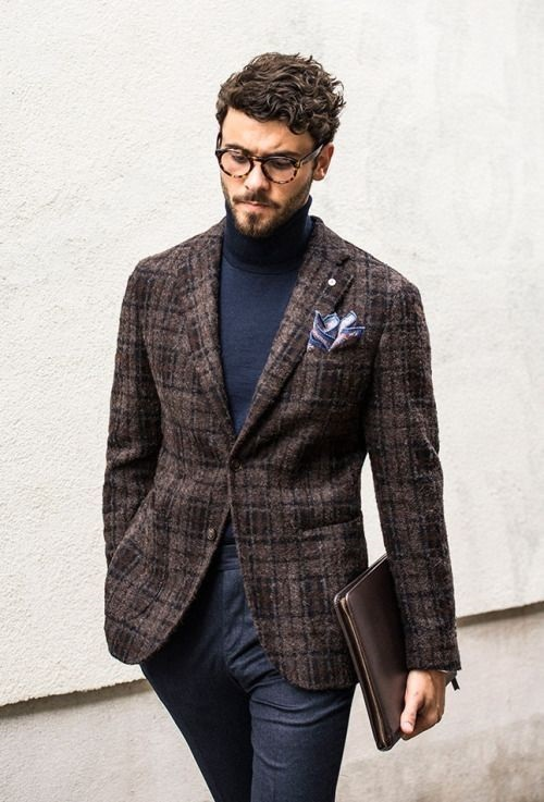 Men's holiday style, what to wear to work holiday party, men's tweed blazer with blue turtleneck