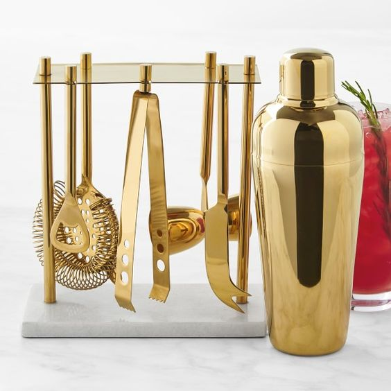 Party Looks and Presents for all your Holiday needs, William Sonoma gold bar tools set with cocktail shaker