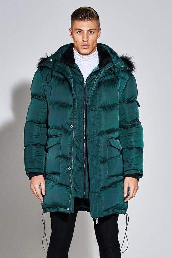 Break the Winter Chill Men's Winter Coats, men's satin puffer jacket, boohoo Premium Satin Puffer Jacket