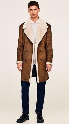 Break the Winter Chill Men's Winter Coats, shearling coat, Zara shearling coat