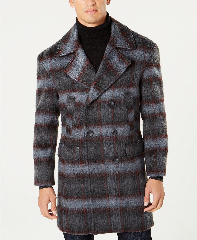 Break the Winter Chill Men's Winter Coats, men's topcoat, plaid topcoat, I.N.C. Men's Grunge Plaid Topcoat