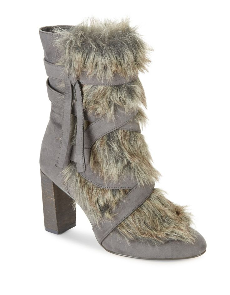 Stylish Warm Winter Boots that Grab the Eye, fur trim bootie, Charles by Charles David Alberta Faux Fur-Trimmed Booties