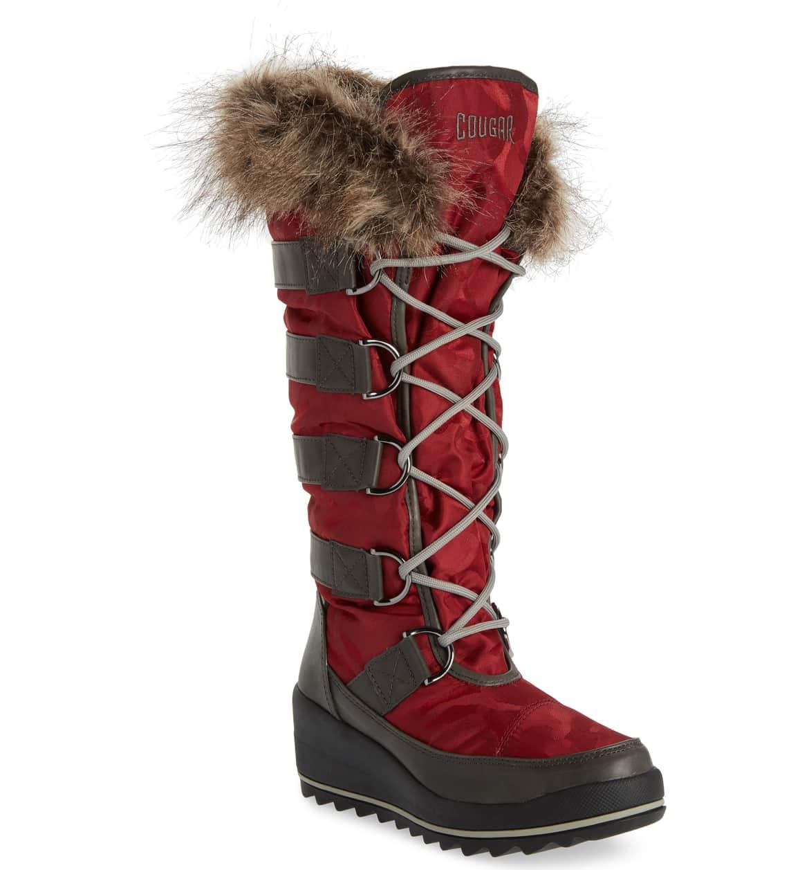 Stylish Warm Winter Boots that Grab the Eye, women's fur trim snow boots, Cougar Lancaster Waterproof Snow Boot, red fur trim snow boots
