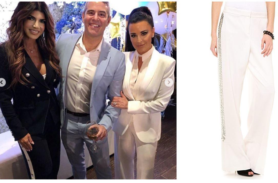 Are Pants the New Thing to Wear?, Kyle Richards embellished tuxedo, By Malene Birger Trakia Embellished cream Pants