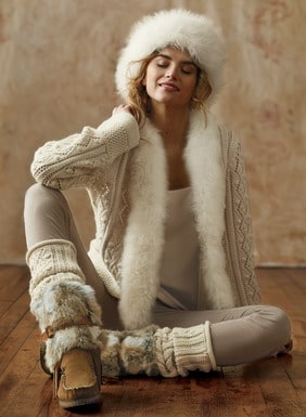 Must-Have Casual Cozy Loungewear, fur-trim sweater and leggings