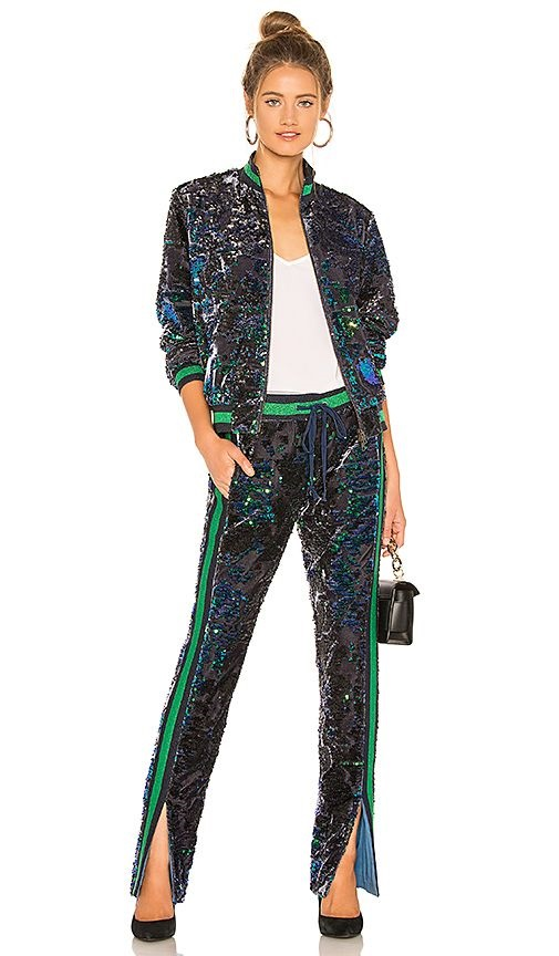 Must-Have Casual Cozy Loungewear, women's track pants, Pam and Gela sequin track pants and bomber jacket