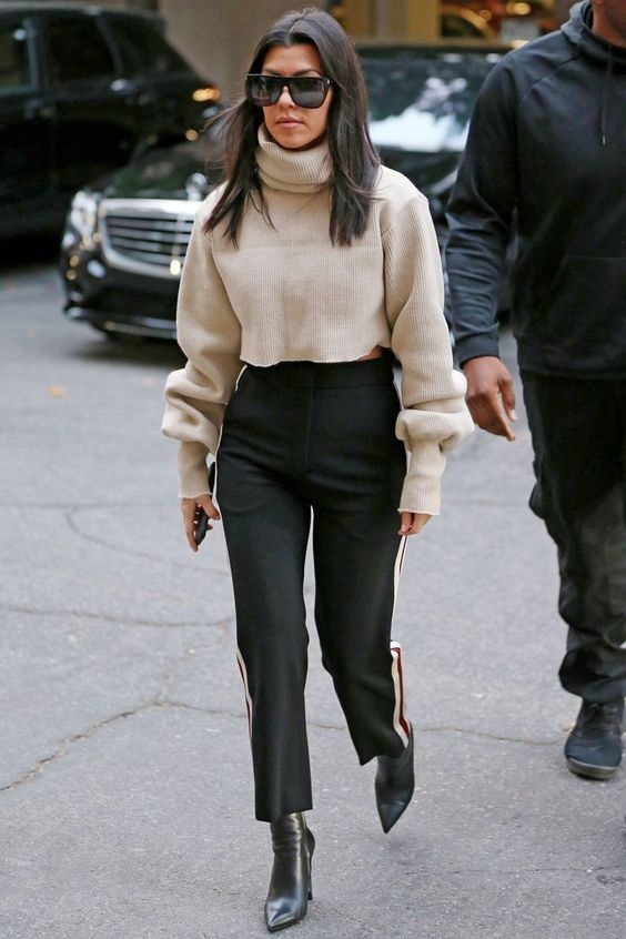 Must-Have Casual Cozy Loungewear, women's track pants and sweater, Kourtney Kardashian sweater and black cropped track pants