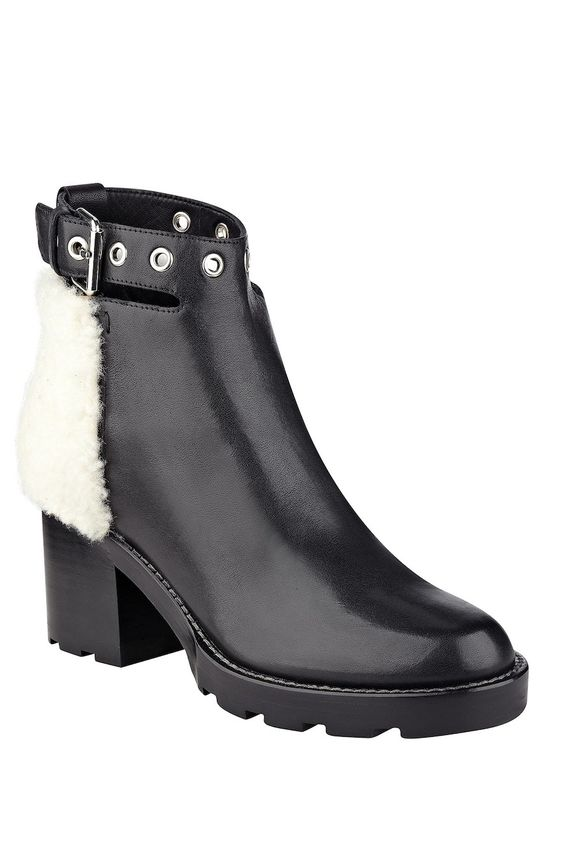 Stylish Warm Winter Boots that Grab the Eye, Sigerson Morrison - Glove Suede Genuine Shearling Buckle Boot