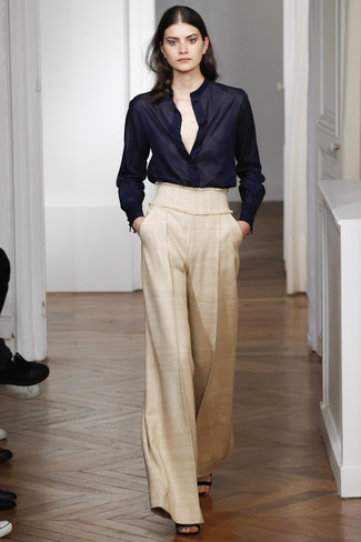 Are Pants the New Outfit du Jour?, Women's Black Chiffon Button Down Blouse, Beige Wide Leg Pants, Black Leather Heeled Sandals