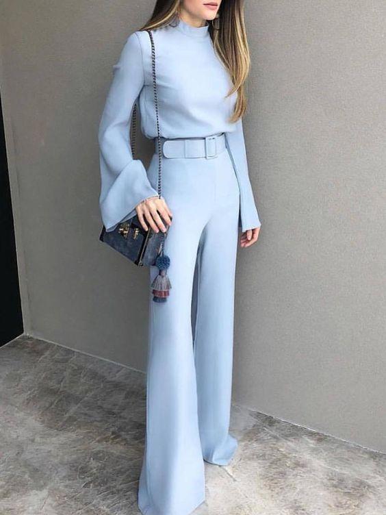 Are Pants the New Outfit du Jour?, wide leg pants, blue wide leg pants and blue blouse